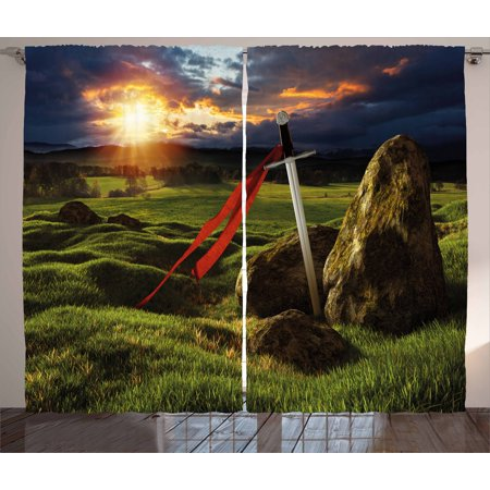 King Curtains 2 Panels Set, Arthur Camelot Legend Myth in England Ireland Fields Invincible Sword Image, Window Drapes for Living Room Bedroom, 108W X 96L Inches, Green Blue and Red, by Ambesonne (Camelot Bedroom)