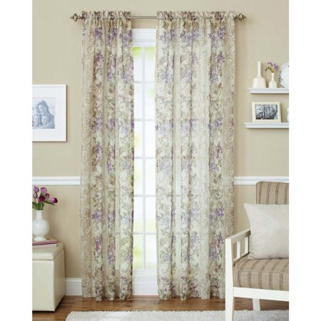 Better homes and gardens roses sheer curtain panel Better homes and gardens curtains