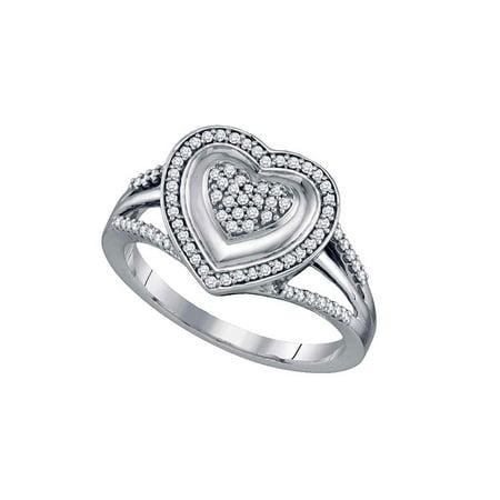 10kt White Gold Womens Round Diamond Framed Heart Cluster Ring 1/4 Cttw - image 1 of 1