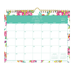 Blue Sky(TM) Day Designer Monthly Academic Wall Calendar, 8 3/4in. x 11in., 50% Recycled, Peyton White, July 2018 to June 2019