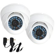VideoSecu 2x Dome IR Day Night Vision 480TVL Vandal-proof CCD Outdoor Security Camera Wide Angle Lens with 2 Power Supply BO6