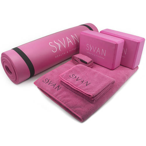 "Sivan 6-Piece Yoga Set, Includes 1/2"" Ultra Thick NBR Exercise Mat, 2 Yoga Blocks, 1 Yoga Mat Towel, 1 Yoga Hand Towel and a Yoga Strap (Red)"