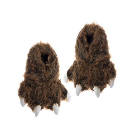 Wishpets Brown Grizzly Bear Animal Paw Plush Fuzzy Slippers](Grizzly Bear Mascot)