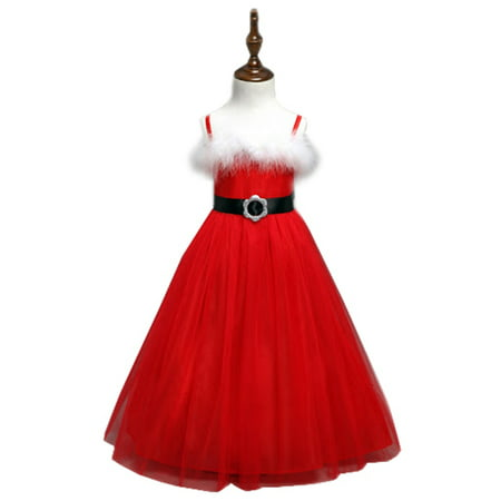 StylesILove Elegant Christmas Santa Costume Girl Strap Dress (18-24 Months)