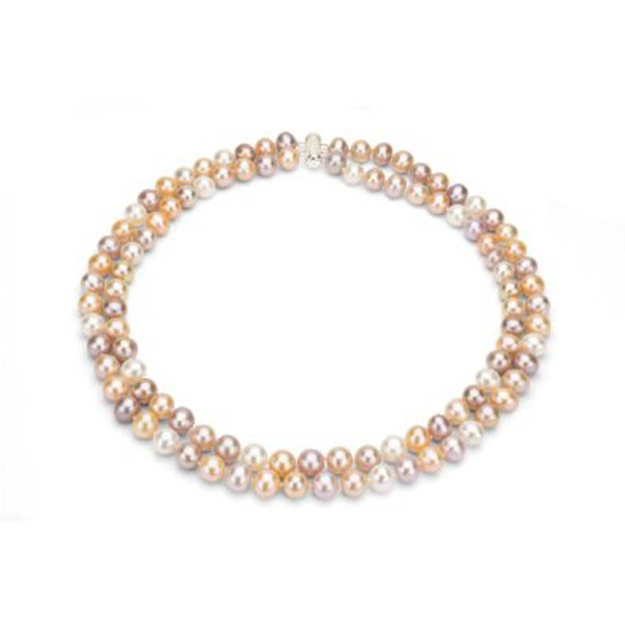 """Multi-Color Freshwater Pearl Necklace for Women, Sterling Silver 2 Row 17"""" & 18\ by Generic"""