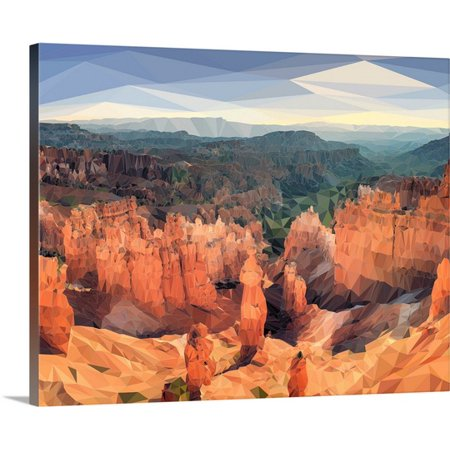 Great Big Canvas Circle Art Group Premium Thick Wrap Canvas Entitled Bryce Canyon   Low Poly Art