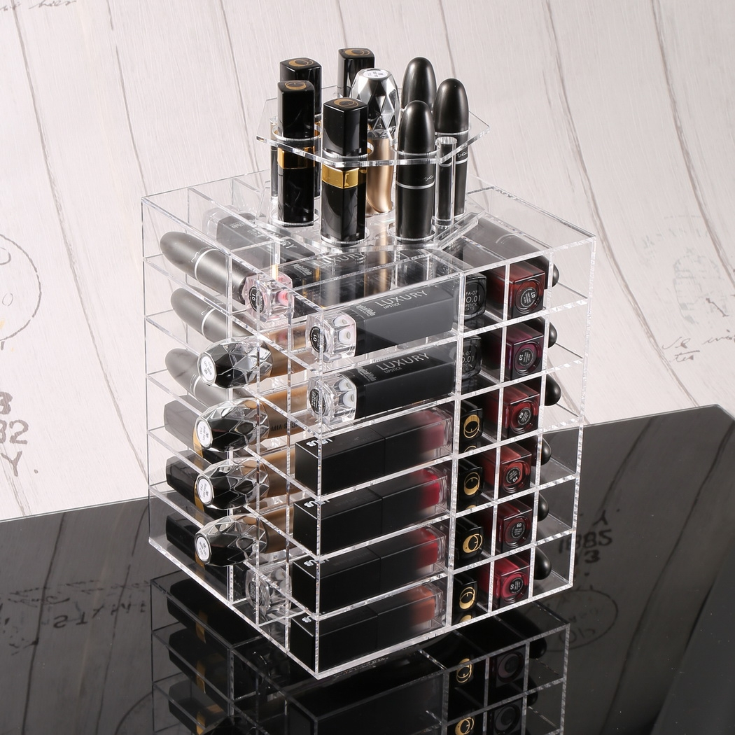 360° Spinning Lipstick Holder Tower Acrylic  Makeup Cosme...