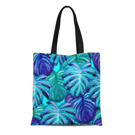 LADDKE Canvas Tote Bag Teal Tropical Leaf Design Featuring Green Blue Sketch Palm and Monstera Plant Leaves Reusable Shoulder Grocery Shopping Bags Handbag (Glasteel Tropical Green)