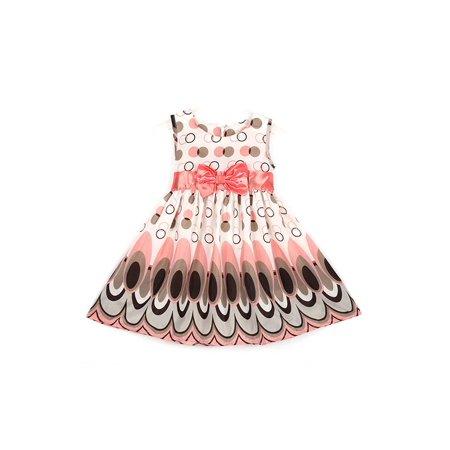 Ropalia Kids Girls Princess Dress Bow Belt Peacock Sleeveless Party Clothes