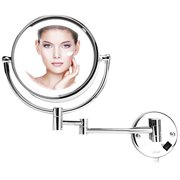 Wall Mount Makeup Mirror with 8.5 Inch LED Lighted and 10x Magnification in Bathroom, Chrome Finish by COOLGUY