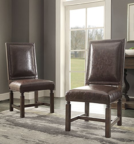 Foremost Groups Inc Savoy Bonded Leather Dining Chair (Set of 2)