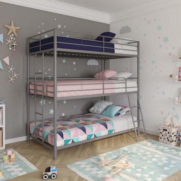 DHP Metal Triple Bunk Bed, Twin/Twin/Twin, Silver
