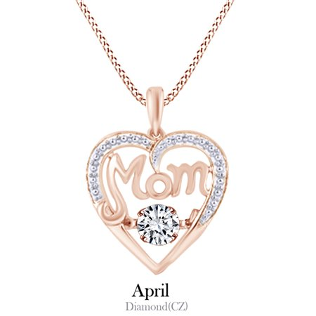 76643b58fe0 Jewel Zone US - Cubic Zirconia MOM Heart Dancing Pendant Necklace in 925 Rose  Gold Over Sterling Silver - Walmart.com