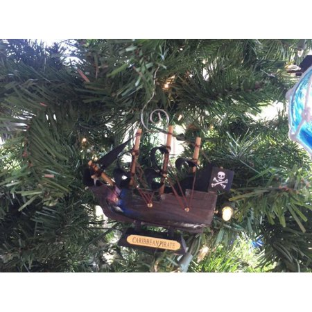 Wooden Caribbean Pirate Ship Model Christmas Ornament 4
