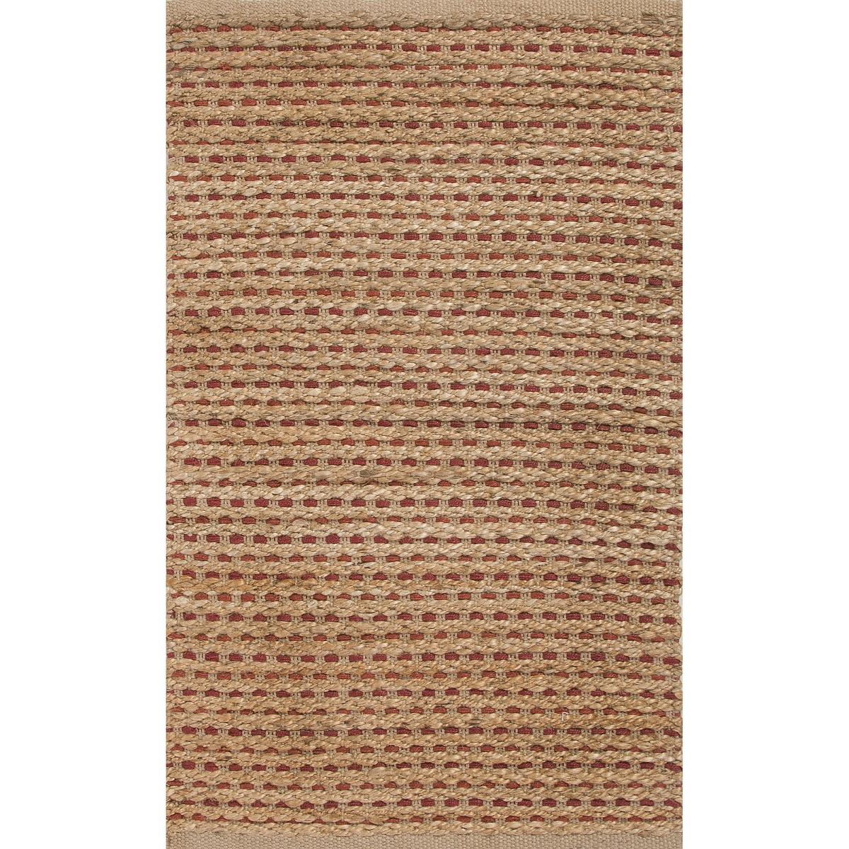 2' x 3.33' Wheat Tan and Red Yarm Jute Accent Throw Rug