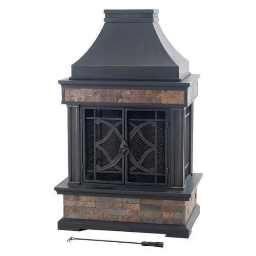 sunjoy heirloom 56 inch steel and slate outdoor fireplace