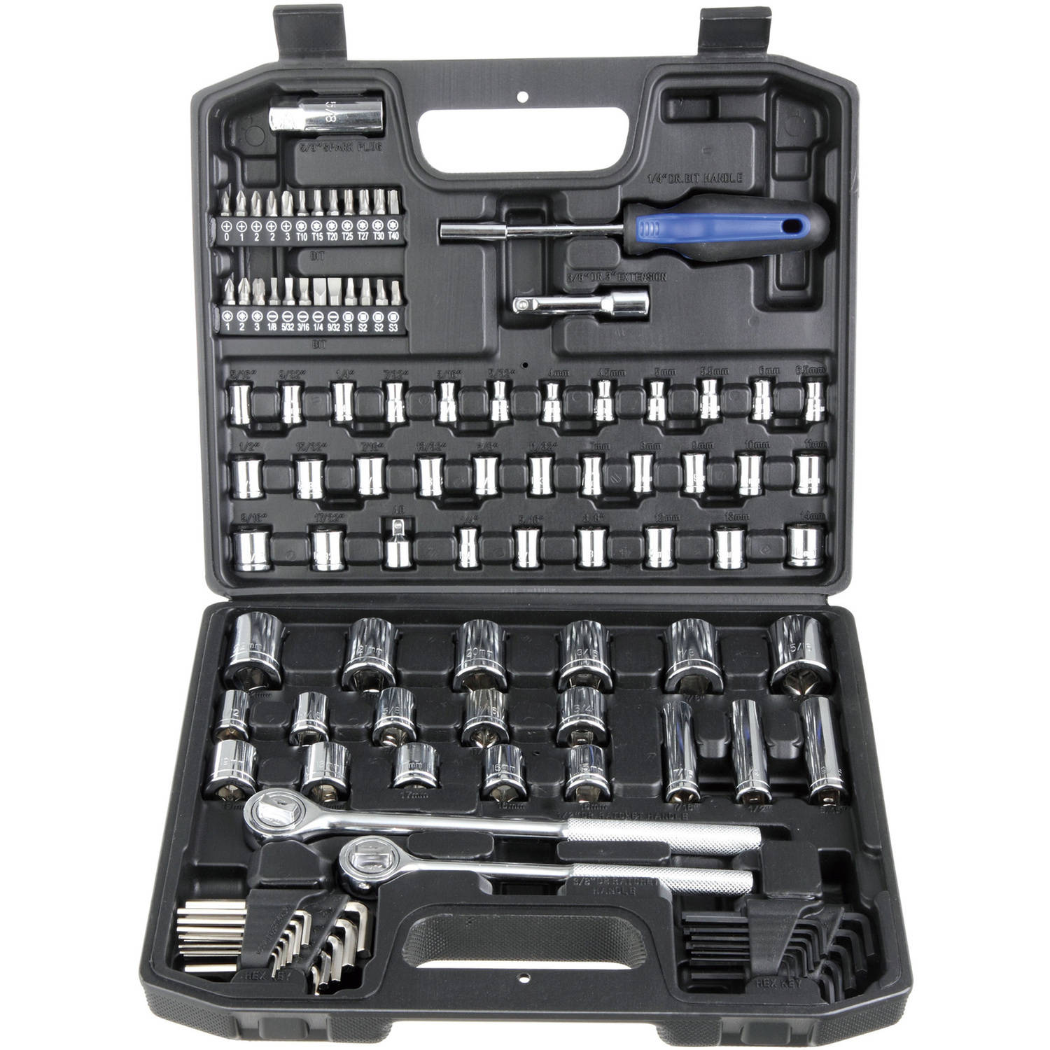 Hyper Tough 107-Piece 1/4, 3/8 And 1/2 Inch Drive Socket Set
