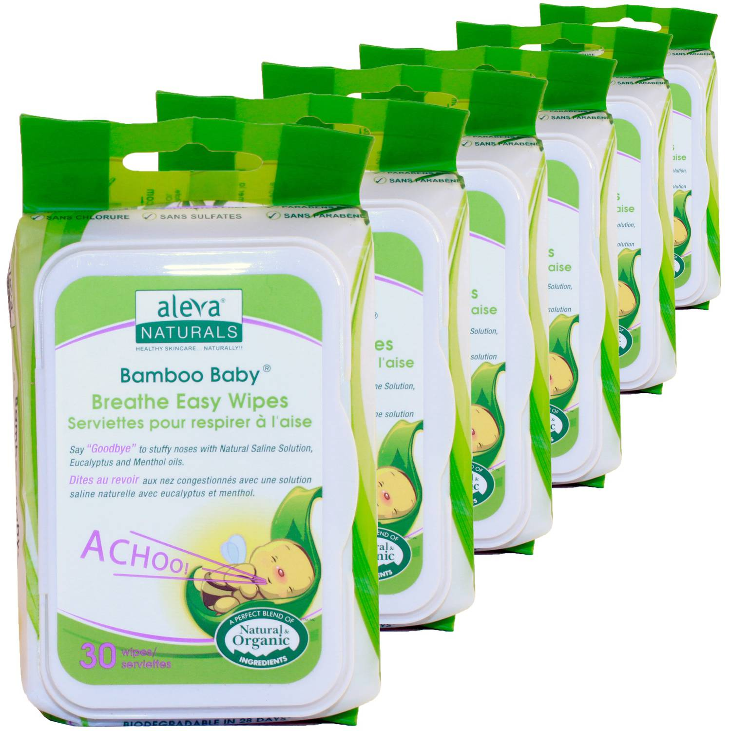 Aleva Naturals Bamboo Baby Nose n��� Blow Wipes, 30 sheets, 6 count