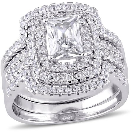 4-1/10 Carat T.G.W. CZ Sterling Silver Halo Bridal Set