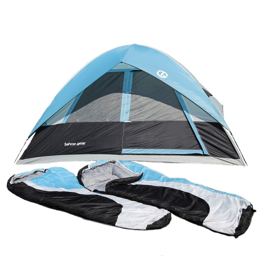 Tahoe Gear Granite 5 Person 3-Season Family Tent Camping Kit with Sleeping Bags