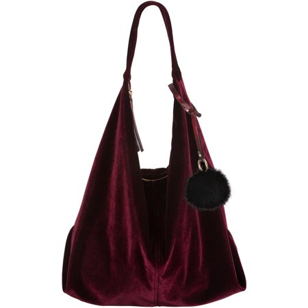 Velvet Over The Should Slouch Hobo Purse with Pom Pom