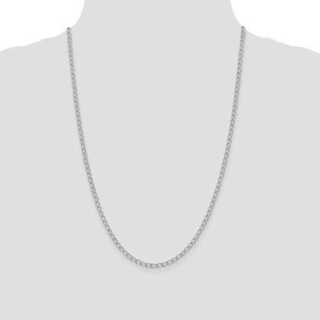 925 Sterling Silver 3mm Half Round Wire Curb Chain Anklet - image 4 de 5