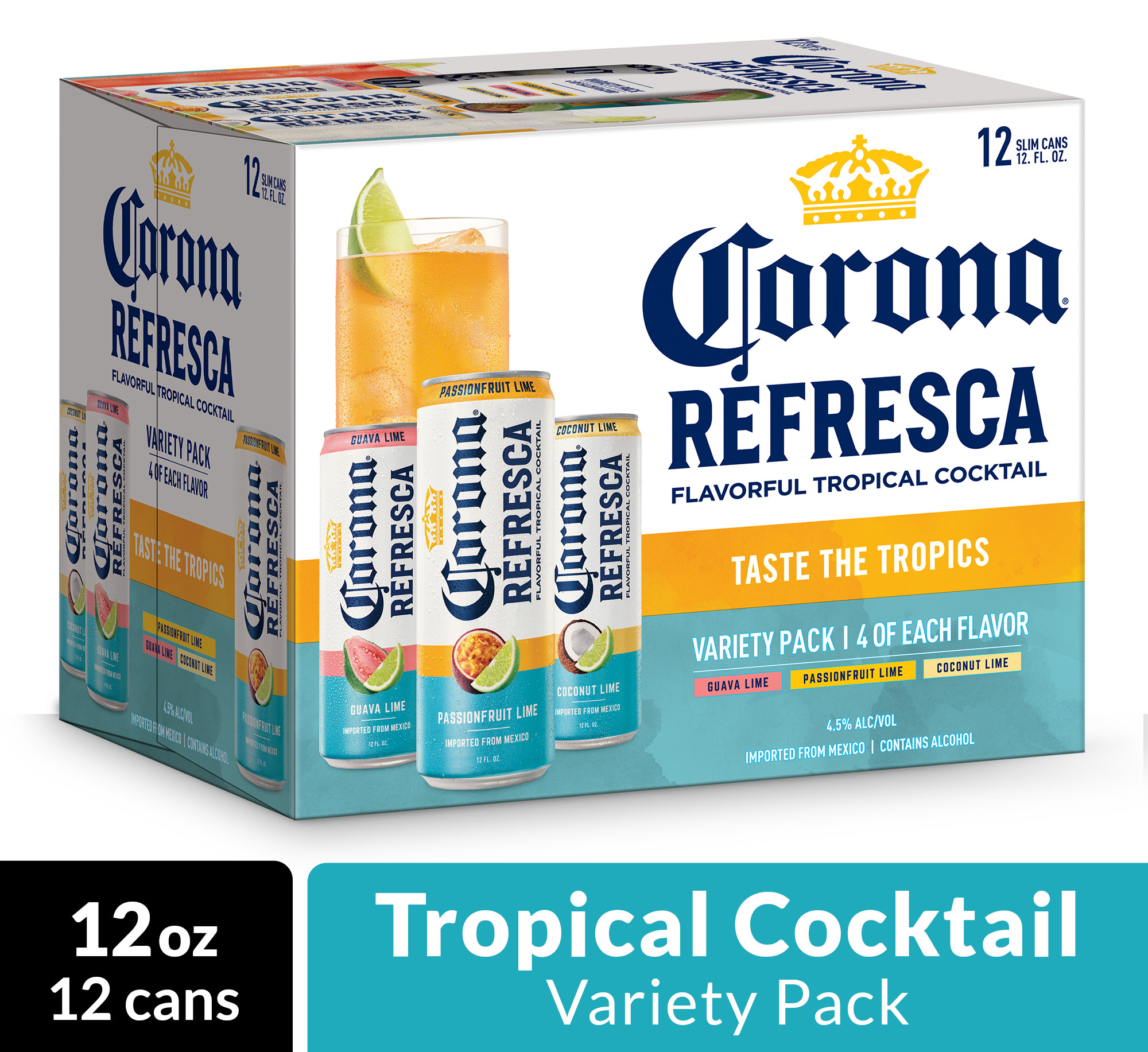 Corona Refresca Variety Pack Spiked Tropical Cocktail 12 Pk 12 Fl Oz Cans 4 5 Abv With Guava Lime Passionfruit Lime And Coconut Lime Walmart Com Walmart Com