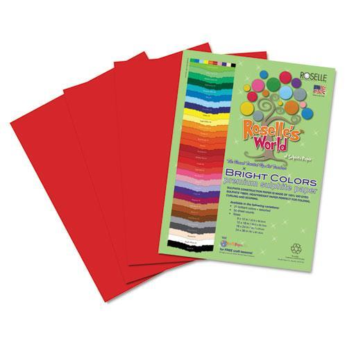Roselle 74301 Premium Sulphite Construction Paper, 76 lbs., 9 x 12, Holiday Red, 50/Pack