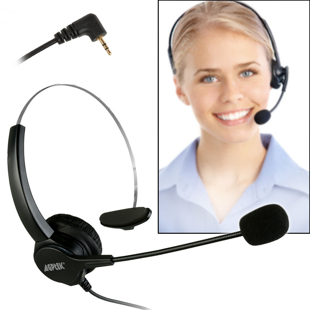 Agptek Headsets with 2.5MM IP  Phone Headsets for Office Call Center Call Center