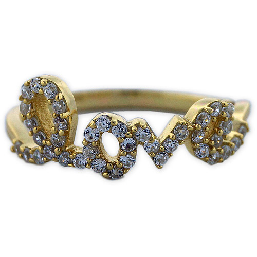 CZ 18kt Gold over Sterling Silver Love Ring