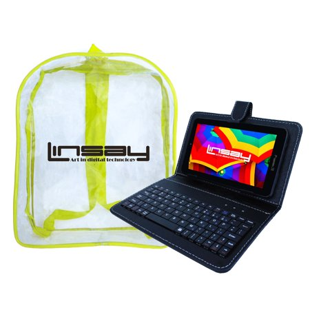 Image of LINSAY 7'' New Tablet Quad Core Bundle with Black Keyboard Case and Bag Pack Dual Camera Android 6.0