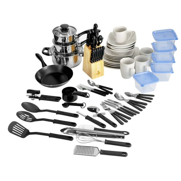 Gibson Home Essential Total Kitchen 83 Piece Combo Set White Walmart Com Walmart Com