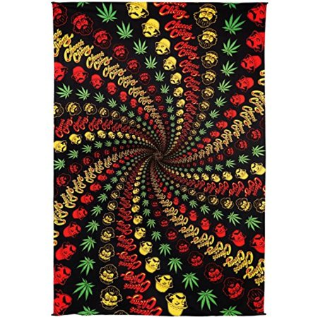 Sunshine Joy 3D Cheech & Chong Rasta Spiral Tapestry Tablecloth Wall Art Beach Sheet Huge 60x90 Inches - Amazing 3D Effects (Jay Tapestry)