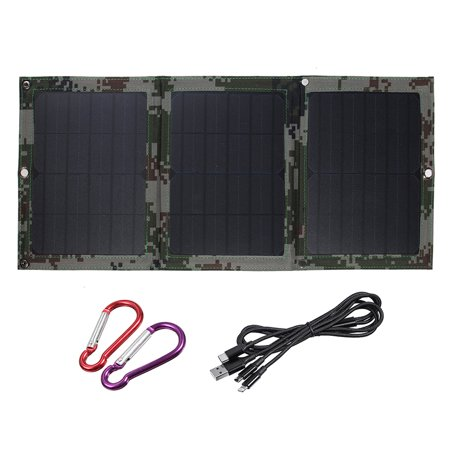 40W Flexible Folding Solar Panel Waterproof Solar Portable Dual USB Ports Emergency Charging Solar Cell with Hanging Hook for Camping Outdoor Mountain Grassland (Emergency Solar Panel)