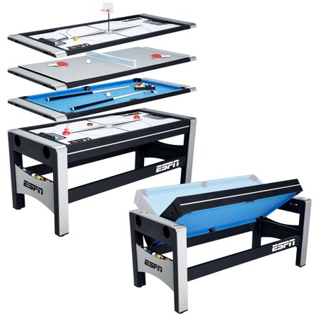 Escalade Hockey Game Table (ESPN 72 Inch 4-in-1 Swivel Combo Game Table, 4 Games with Hockey, Billiards, Table Tennis and Finger Shoot Basketball)