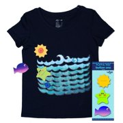 Udoo Planet Unisex Navy Ocean Buttons Playful T-Shirt 7/8