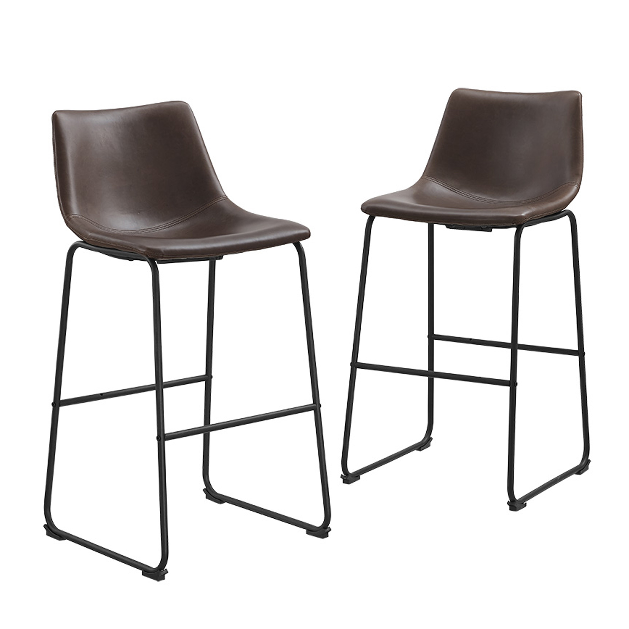 Modern Faux Leather Dining Kitchen Bar Stools, Set of 2 - Brown