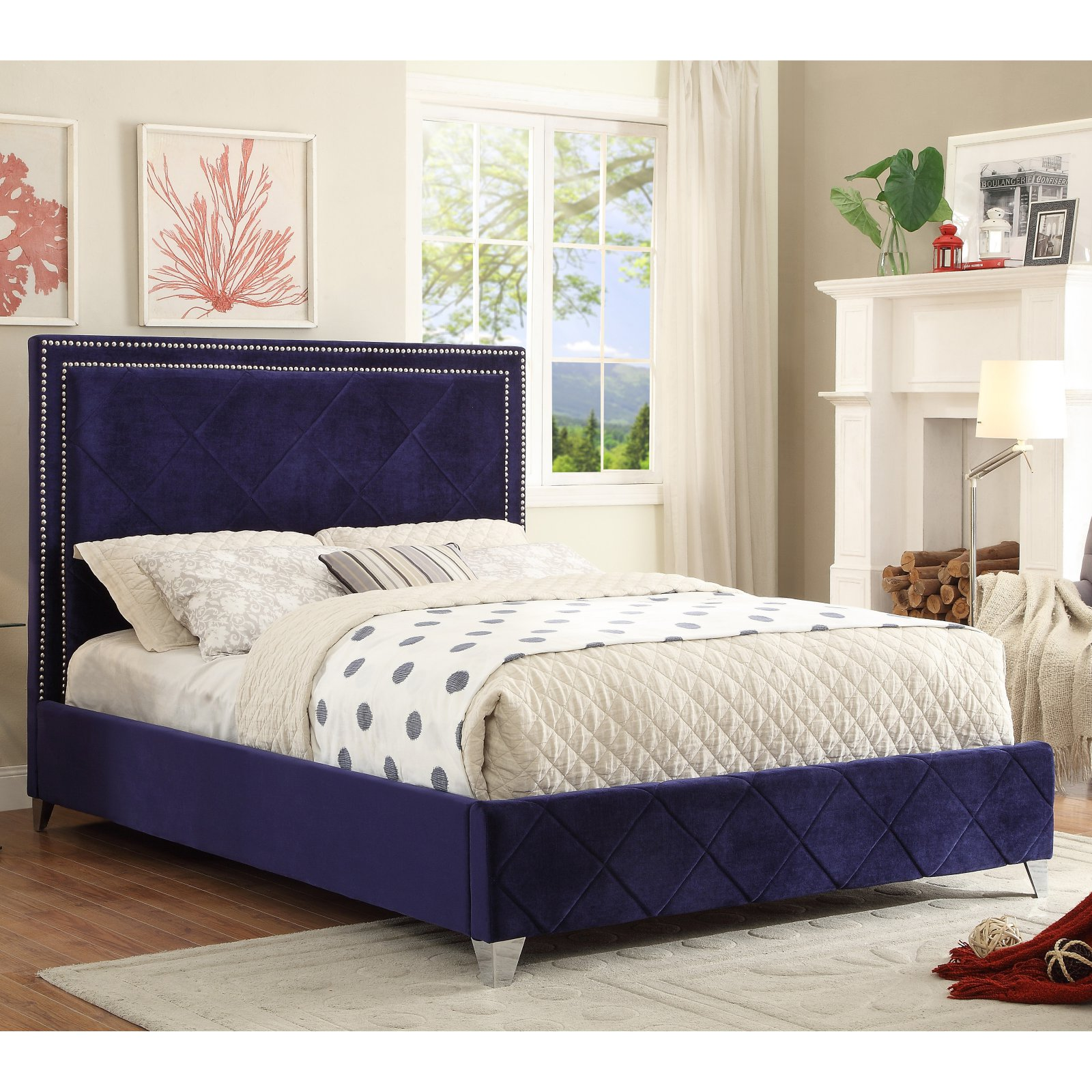 Meridian Hampton Velvet Upholstered Bed