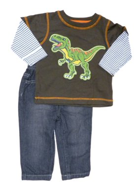 Kids Headquarters Infant Toddler Boys T-Rex Brown Longsleeve Shirt Jeans Set