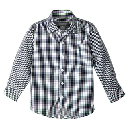 Spring Notion Boys' Long Sleeve Checkers Gingham Shirt
