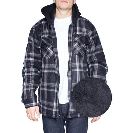 Hoodie Flannel Fleece Jacket For Men Zip Up Big Tall Lined Sherpa Sweat Shirts Largeblackgrey