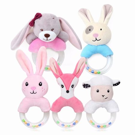 Akoyovwerve Cute Baby Plush Stuffed Animal Rabbit Fox Sheep Toy Ring Rattle Baby Plush Toy for Kids Toddlers Babies Christmas Plush Toys