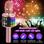 karaoke Microphone,4 In 1 Wireless LED h Karaoke Microphone with Light ,Mini USB Speaker for Home KTV, Rose Gold/ Gold