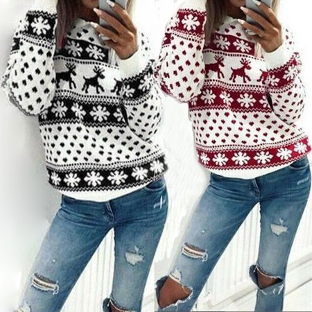Women Lady Hoodie Sweatshirt Jumper Sweater Pullover Tops Coat Christmas Winter Tops Red Size M ()