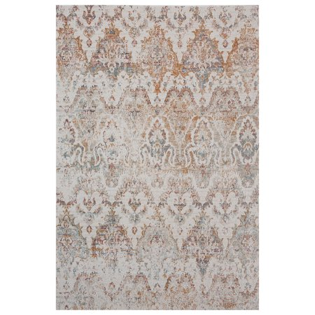 Capel Bronze Rug - LR Home Antiquity 5x7 Distressed Damask Southern Rust / Cream Indoor / Outdoor Area Rug