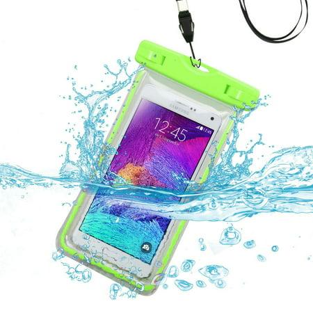 Waterproof Phone Case by MyBat Universal Apple Green Lightning Waterproof Bag Case Phone Holder with Lanyard for iPhone 8 7 6S Plus Samsung Galaxy S9 S8 S7 S6 On5 J7 J3 J1 ZTE Maven ZMAX LG Stylo 3 2