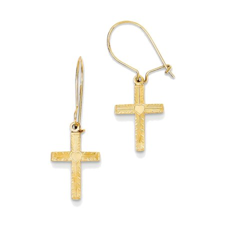 14K Yellow Gold Heart Cross Dangle Earrings