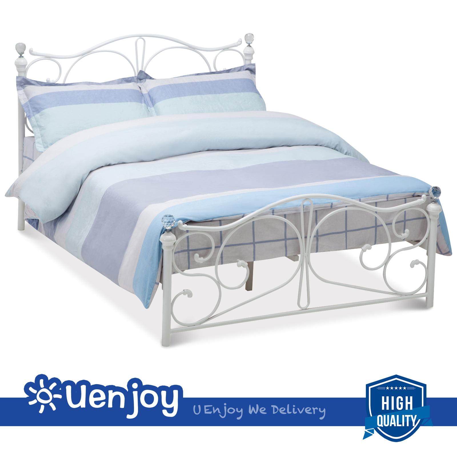 Uenjoy Full Size Metal Bed Frame Bright pearl Finial Headboard Footboard, White by Uenjoy