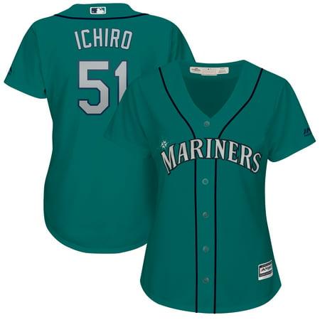 Ichiro Suzuki Seattle Mariners Majestic Women's Cool Base Player Jersey - Aqua