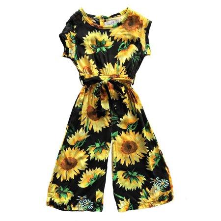 Print Bodysuit Set (Toddler Kids Baby Girl Sunflower Print Romper Floral Bodysuit Jumpsuit Sunsuit Summer Outfits Set Clothes 1-2 Years)